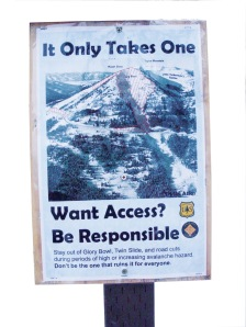 Avalanche warning sign from Teton Pass, Wyo., 2011.