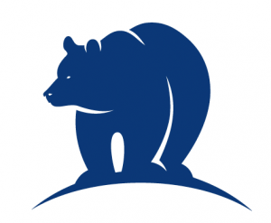 Illustration of a bear in blue.